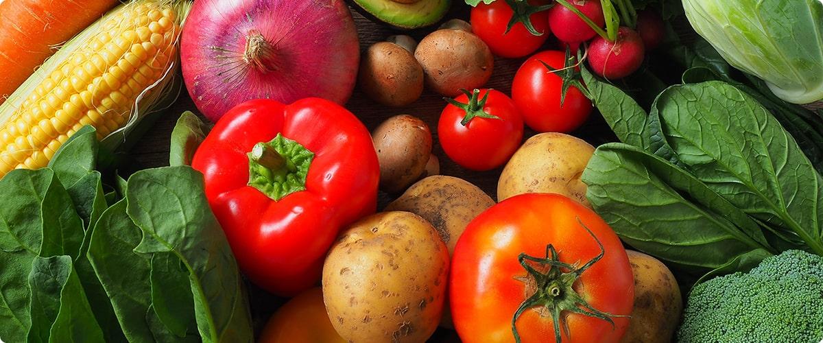 画像:とうもろこしやたまね魏、トマトやジャガイモなど、取れたての野菜がいっぱい。