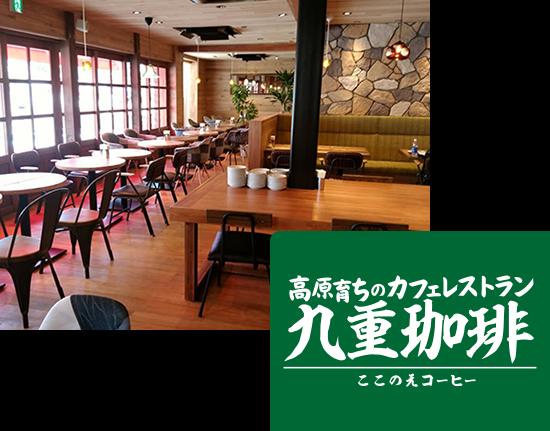 画像:九重珈琲の店内、床にテーブル、天井まで木目の店内。壁はレンガの壁紙が貼られている。奥行きのある広い店内に昼間に心地いい光が差し込んでいる。